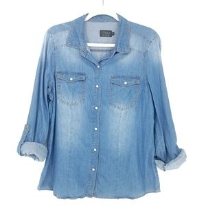 Ci Sono Chambray Button Down Patch Roll Tab Shirt